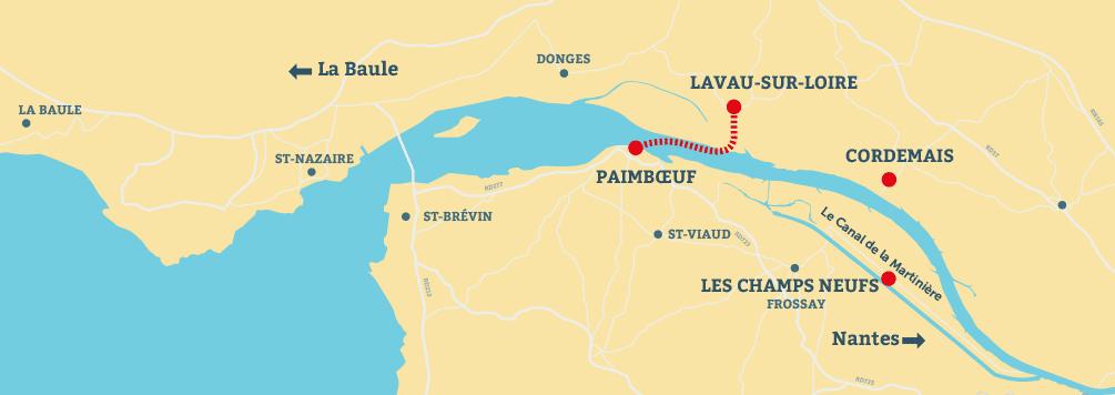 carte itinéraire Croisières sur l'estuaire de la Loire