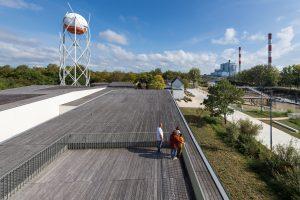 ballon vue depuis le toit terrasse du Centre Terre d'estuaire